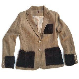 Tweed Blazer With Brown Faux Fur Trim